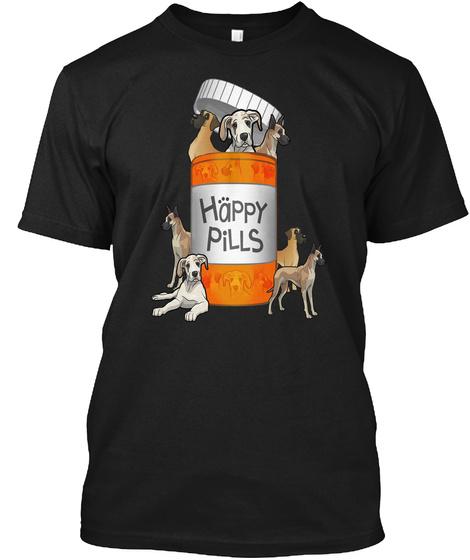 Happy Pills Great Dane Tshirt Black T-Shirt Front