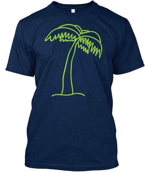 T Shirt Cartoon Palm Tree Navy T-Shirt Front