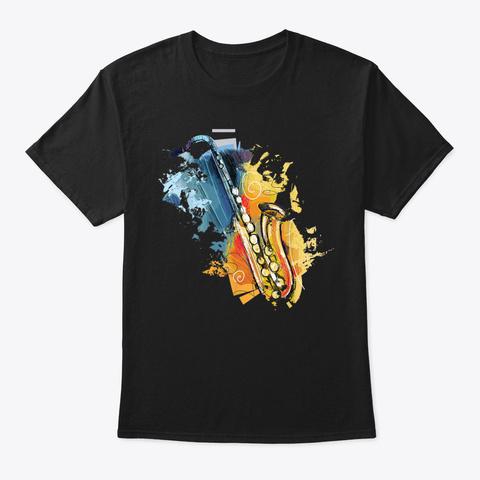 Vintage Retro Baritone Saxophone Music B Black T-Shirt Front