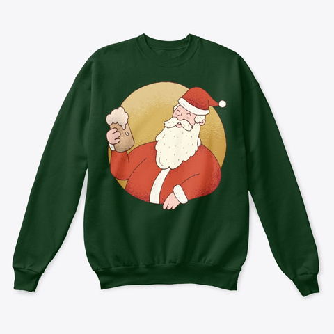 Christmas Beer Santa Deep Forest  T-Shirt Front
