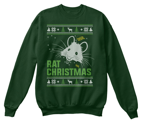 Rat Ugly Christmas Sweater Deep Forest  T-Shirt Front
