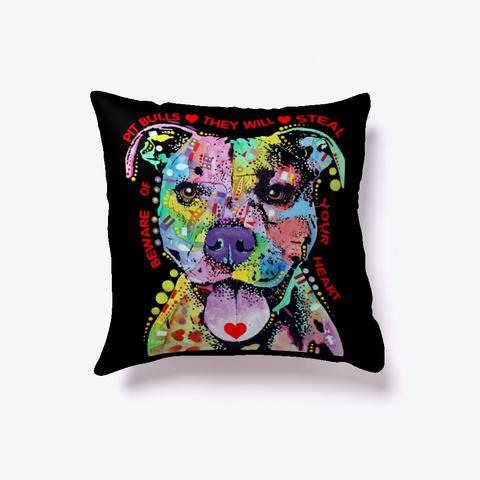 Sugar Pitbull Colorfull Pillow Black T-Shirt Front