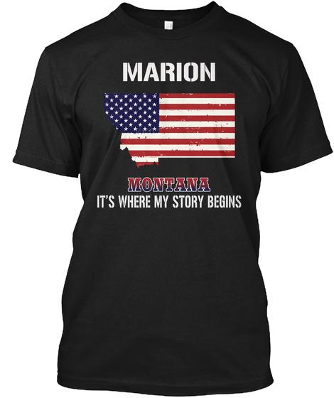Marion Mt   Story Begins Black T-Shirt Front