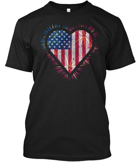 Usa Transparent Flag Heart Salute Shirt  Black T-Shirt Front