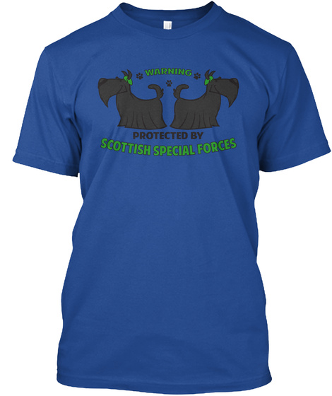 Warning Protected By Scottish Special Forces Deep Royal T-Shirt Front
