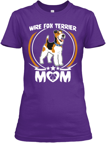 Wire Fox Terrier Mom Shirt Mothers Day Purple T-Shirt Front