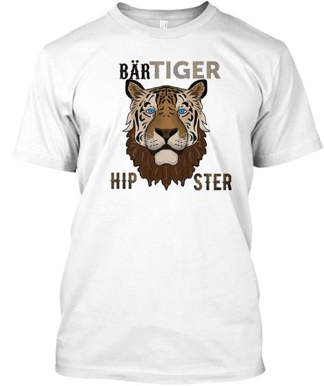 Limitiert   Bär Tiger Hipster White T-Shirt Front