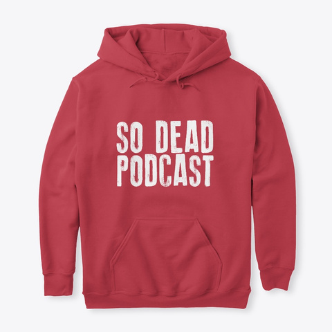 White Print Hoodie Cardinal Red T-Shirt Front