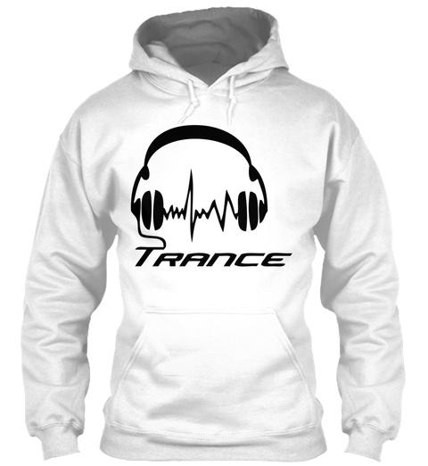 Trance Headphones White T-Shirt Front