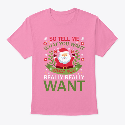 Merry Christmas Gift From Santa Claus  Pink T-Shirt Front