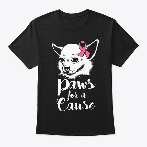 Paws For A Cause Breast Cancer Awareness Black T-Shirt Front