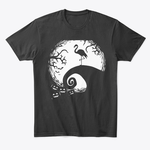 Funny Flamingo And Moon Halloween Black T-Shirt Front