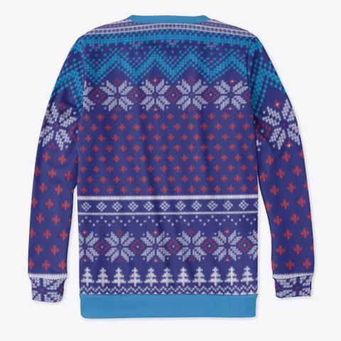 Joy To The Pug Ugly Sweater Denim Blue T-Shirt Back