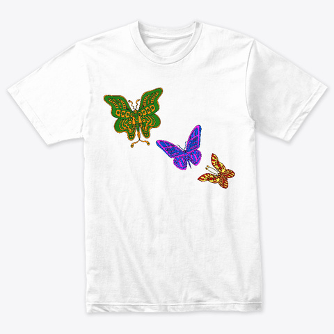 Colourful Butterflies  Heather White T-Shirt Front