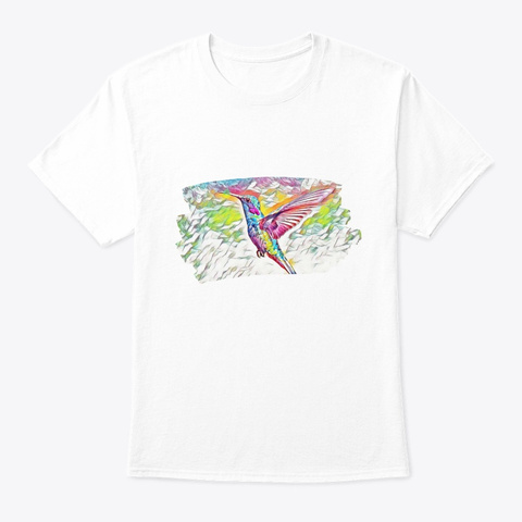Colorful Bird Art Painting Birdie Dove S White T-Shirt Front