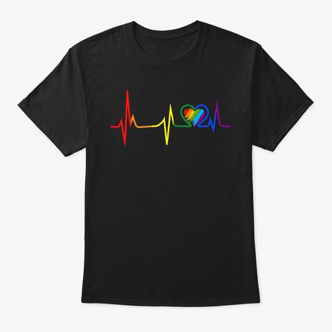 Lgbt Rainbow Heartbeat Gay Lesbian Pride Black T-Shirt Front