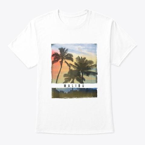 Malibu California Palm Tree Sunset White T-Shirt Front