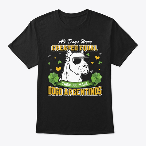 St Patricks Day Dogo Argentinos Black T-Shirt Front