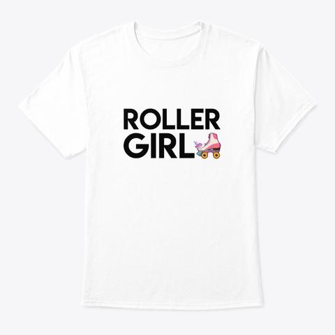 Roller Girl Unicorn Design Graphic Shirt White T-Shirt Front