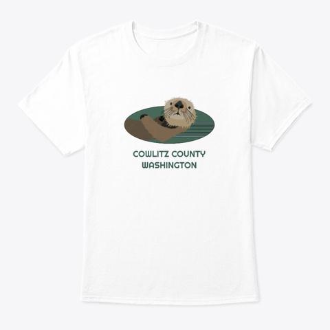 Cowlitz County Wa Otter Pnw Tribal White T-Shirt Front