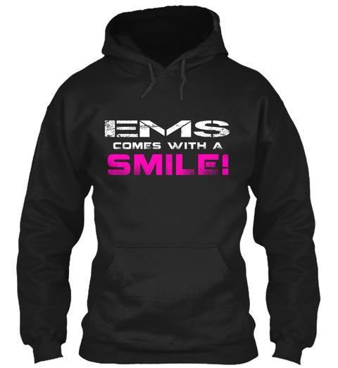 Ems Comes With The Smile! Black T-Shirt Front