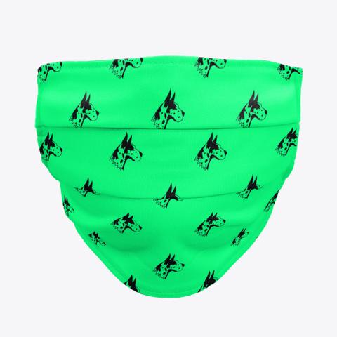 Green Great Dane Pattern Face Mask Standard T-Shirt Front