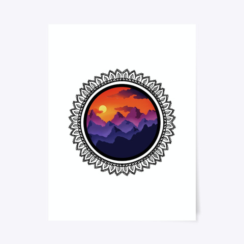 Colorful Sunset Over Mountains Mandala Standard T-Shirt Front
