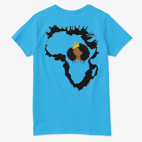 Black African Queen  Aquatic Blue  T-Shirt Back