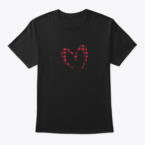 Buffalo Plaid Red Black Love For Mother Black T-Shirt Front
