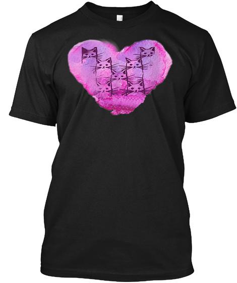 Cat Heart Purple Pink Grey Black Black T-Shirt Front