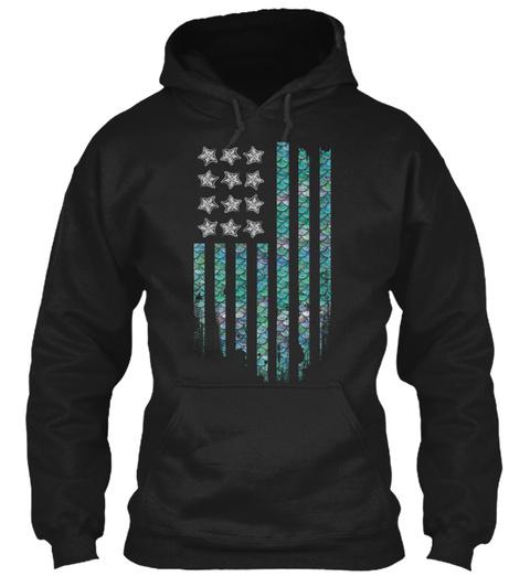 Mer Merican! American Mermaid Nation! Black Sweatshirt Front