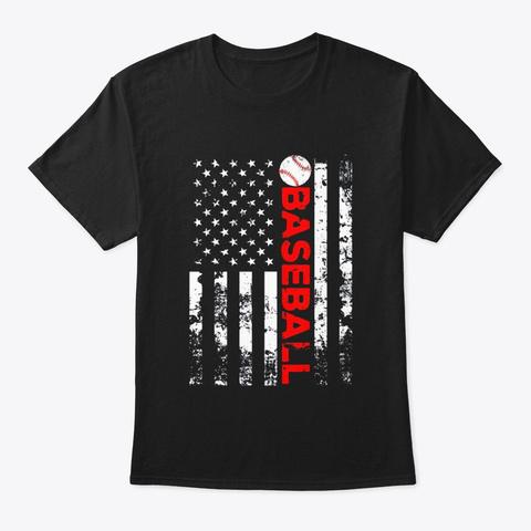 American Flag Baseball Team Gift T Shirt Black T-Shirt Front