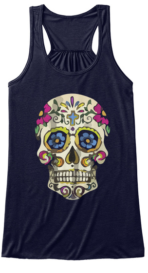 Colorful Skull Women Tank Midnight T-Shirt Front