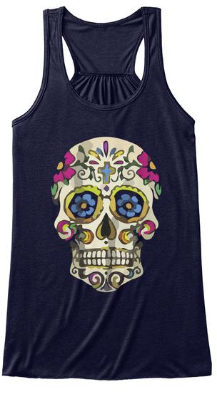Colorful Skull Women Tank Midnight T-Shirt Front