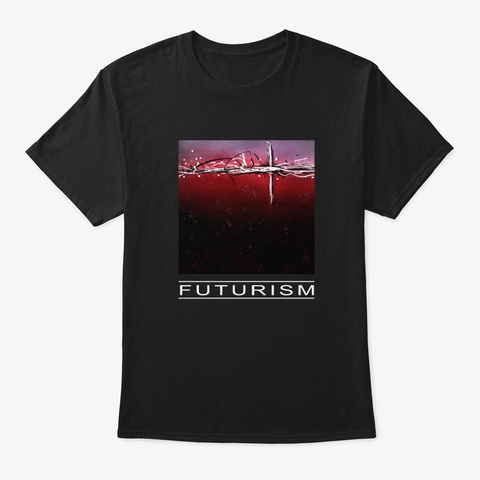 "Abstract Aesthetic Art ""Futurism"" Black T-Shirt Front"