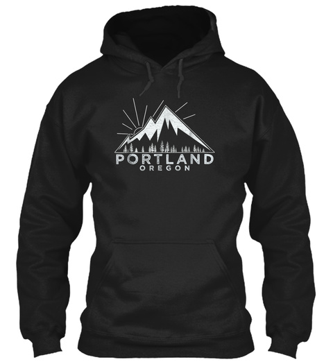 Portland Oregon Or T Shirt Vintage Hikin Black T-Shirt Front
