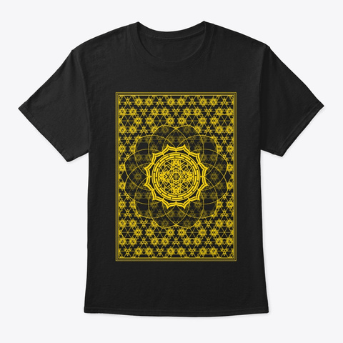 Sacred Geometry Gold Framed Flower Black T-Shirt Front