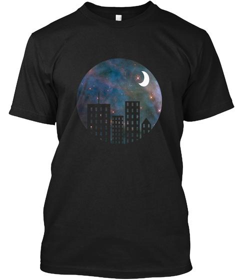 Cityscape Nebula Black T-Shirt Front