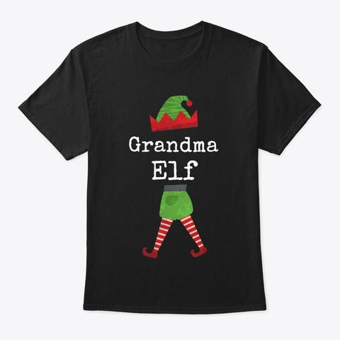 Grandma Elf Family Group Design Black T-Shirt Front