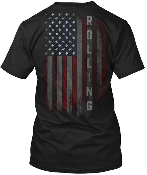 Rolling Family American Flag Black T-Shirt Back