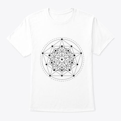 Sacred Geometry Teal Penta Star Black White T-Shirt Front