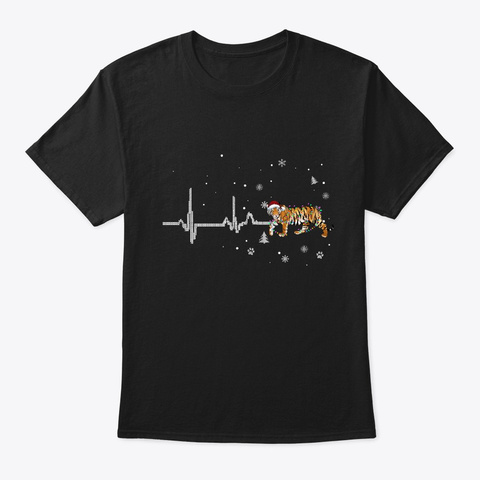 Tiger Pet Light Christmas Black T-Shirt Front