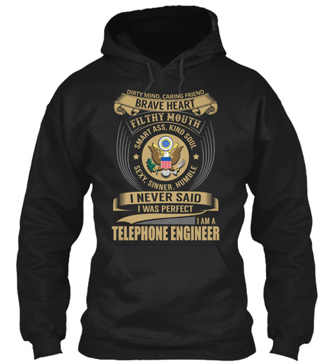 Telephone Engineer   Brave Heart Black T-Shirt Front