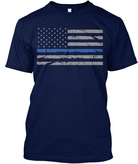 Law Enforcement Blue Line Flag T Shirts Navy T-Shirt Front
