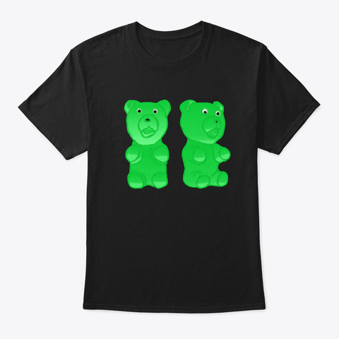 Gummy Bears Handpainted Black T-Shirt Front