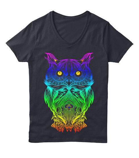 V Neck Psychedelic Retro Hippie Owl  Navy T-Shirt Front