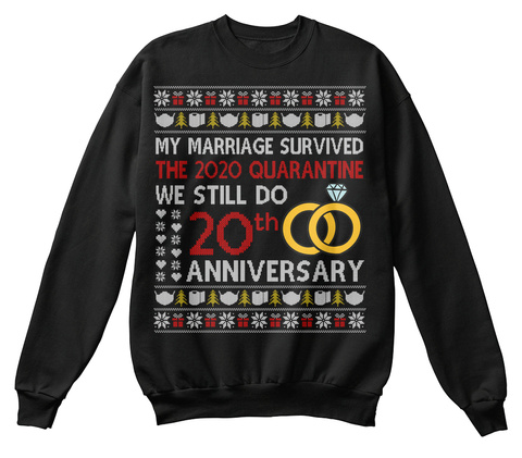 20th Anniversary Ugly Christmas Sweater Black T-Shirt Front