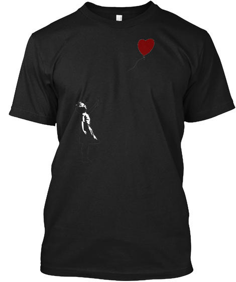 Banksy Girl With Heart Balloon. Black T-Shirt Front
