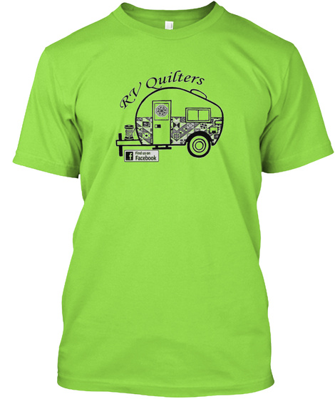 Rv Quilters F Find Us On Facebook Lime T-Shirt Front