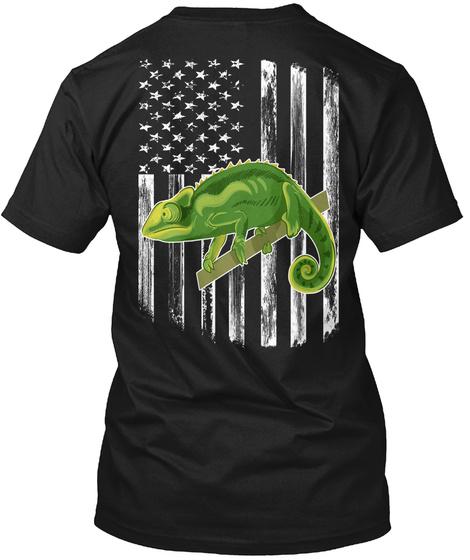 American Flag Chameleon 4th Of July Gift Black T-Shirt Back